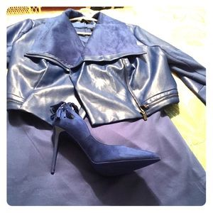 2 Piece Faux Leather and Suede Dress Ensemble